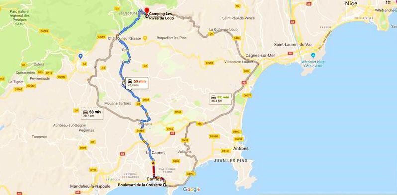 Plan de route pour rejoindre Cannes  à partir du camping Les Rives du Loup en city trip à la journée