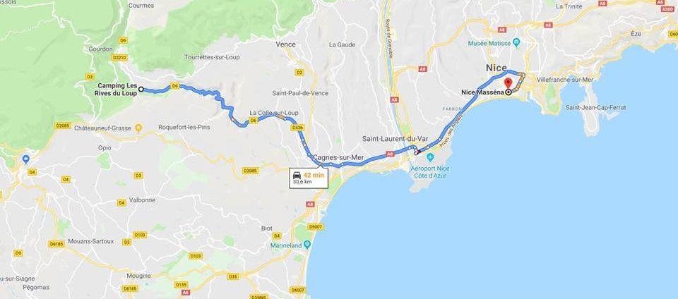 Plan de la route pour Nice Jazz Festival 2019 a partir du camping les rives du loup cote d azur 06 alpes maritimes