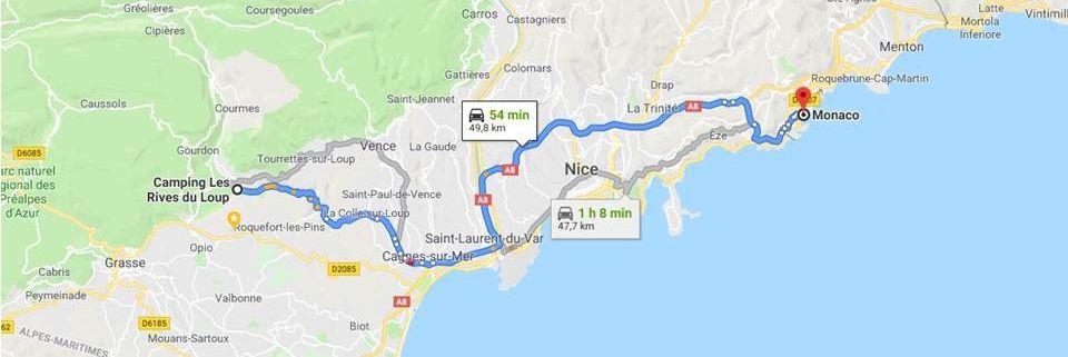 Plan de la route pour se rendre au GP de Monaco 20019 a partir du camping Les Rives du Loup 06 Alpes Maritimes