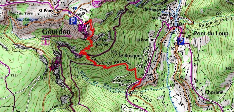 Plan ign du sentier du Paradis pour monter à gourdon à partir du camping Rives du Loup
