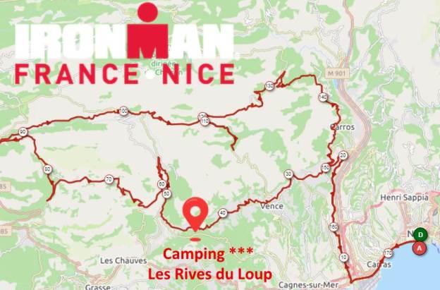 Plan du parcours IRON MAN NICE 2019 et situation du camping Les Rives du Loup